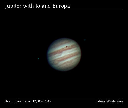 Planet Jupiter with Io and Europa