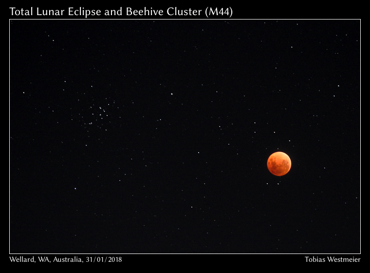 Total Lunar eclipse near the Beehive Cluster (M44)